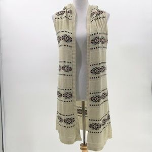 say what? sleeveless open front hooded cardigan M
